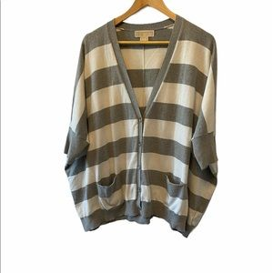 MICHEAL KORS Oversized Striped Button Up Cardigan